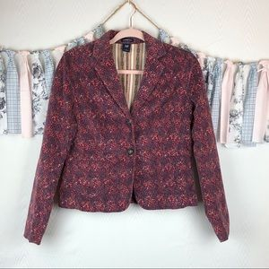 Gap Stretch Floral Corduroy Jacket Button Blazer